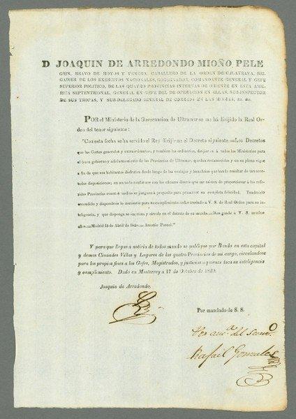 10: Bangs. Spain. Laws (April 15, 1820)