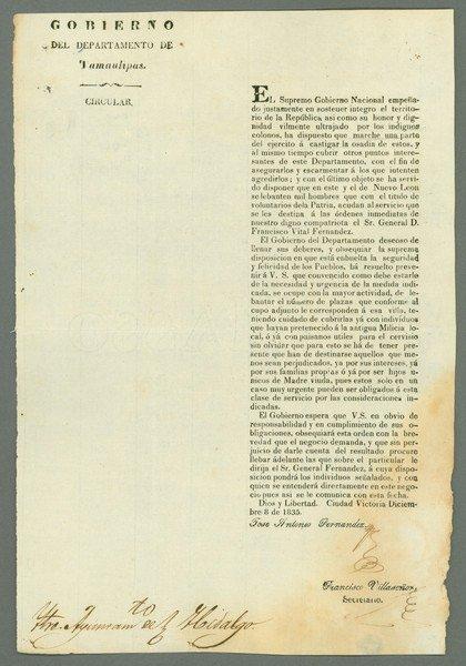 15: Bangs. Tamaulipas, Decree (December 8, 1835)