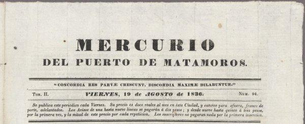 1: [ALAMO]. Mercurio del puerto de Matamoros.