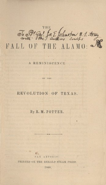 2: POTTER, R. M. The Fall of the Alamo....