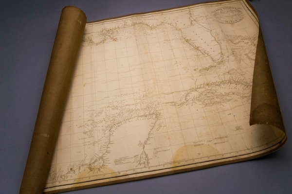 305: Linen-backed Sea Chart of the Texas Coast in 1836