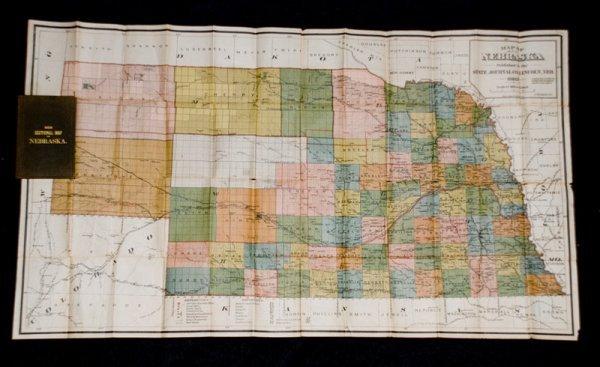 311: Large Railroad Pocket Map of Nebraska in 1883