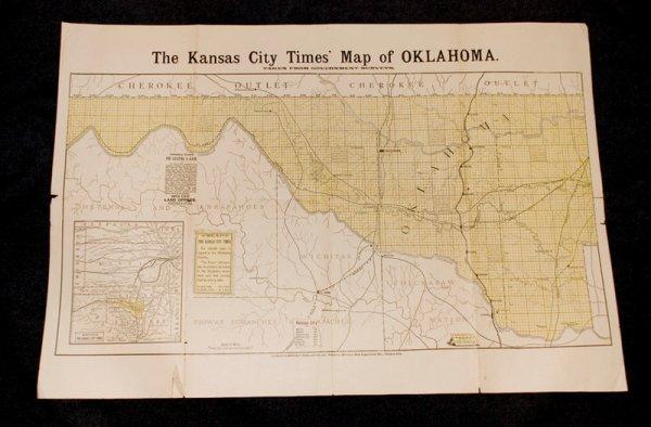 312: The Kansas City Times' Map of Oklahoma. Ca. 1889