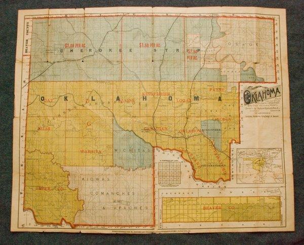 313: Very Rare Cherokee Strip Sales Map