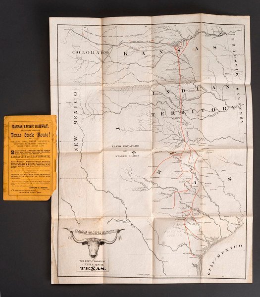 318: 1872 Map for the Texas Cattle Trails