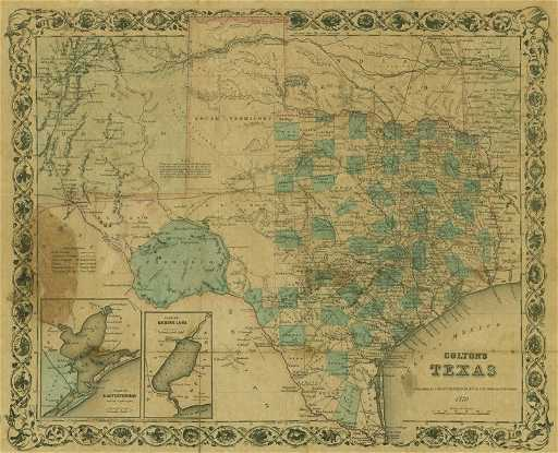 1870 Map Of Texas.Map Colton S Texas 1870 New York 1870