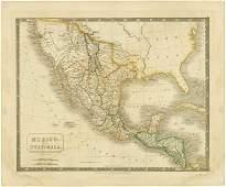 MAP HALL  Bourne Mexico and Guatimala 1828