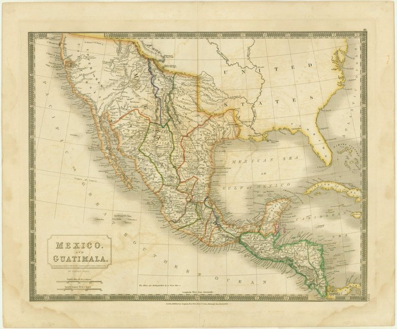 [MAP]. HALL & Bourne. Mexico. and Guatimala. 1828.