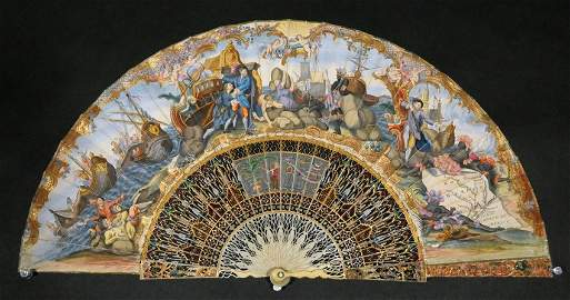 [TEXAS: LA SALLE EXPEDITION]. Vividly hand-painted fan