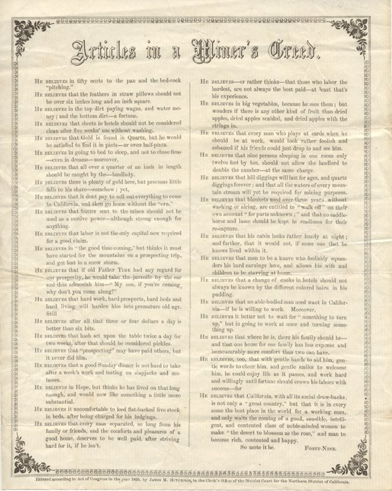 16002: Articles in a Miner's Creed [by] Forty-Nine.