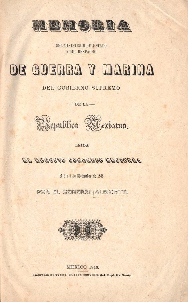 ALMONTE. Memoria del ministerio.... 1846
