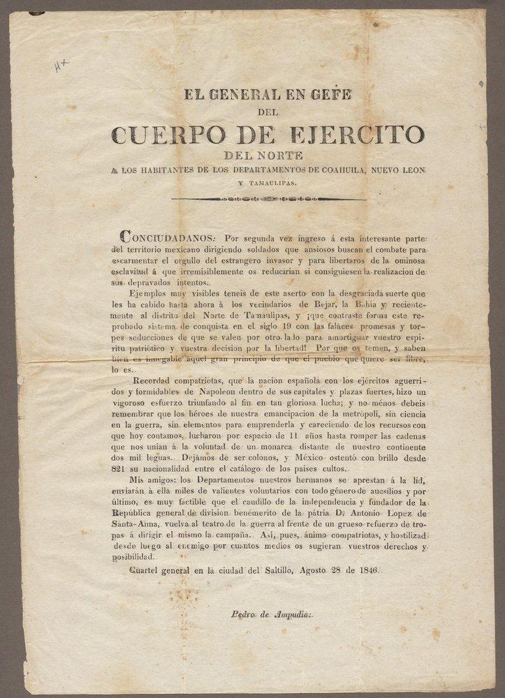 AMPUDIA. El general en gefe.... [Saltillo, 1846]