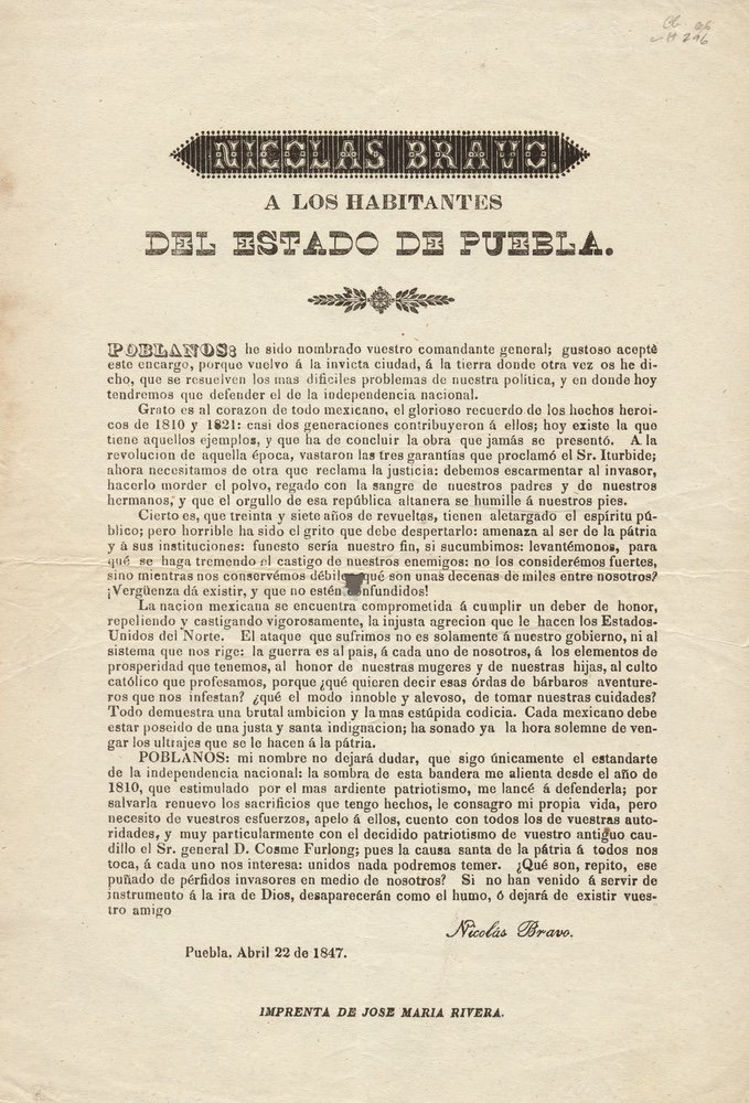 BRAVO. Nicolas Bravo á los habitantes.... 1847