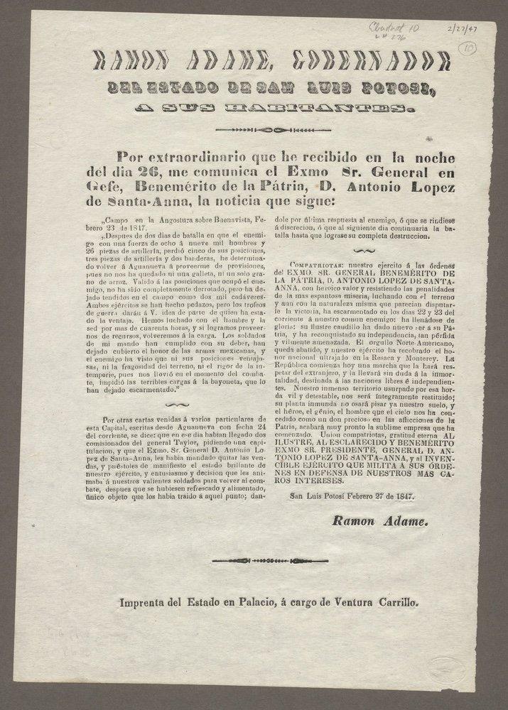 [BUENA VISTA]. ADAME. Gobernador.... 1847
