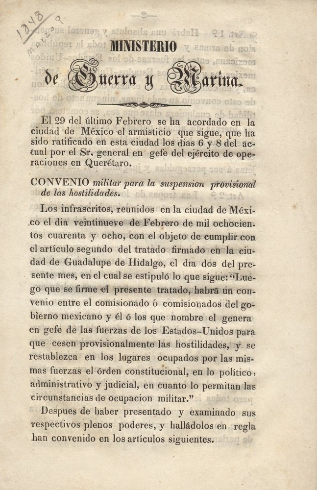 [GUADALUPE HIDALGO, TREATY OF]. 1st Mexican Ed.