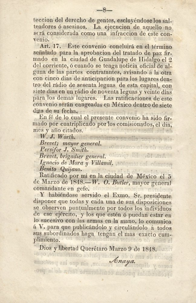 [GUADALUPE HIDALGO, TREATY OF]. 1st Mexican Ed. - 2