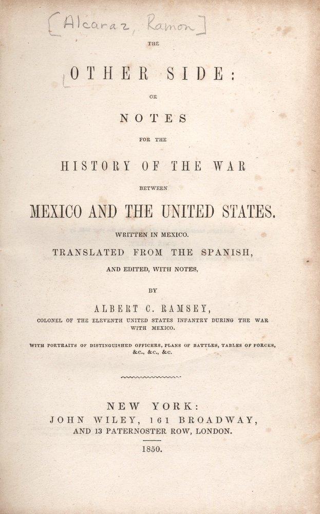 [HISTORIES]. ALCÁRAZ. The Other Side.... 1850