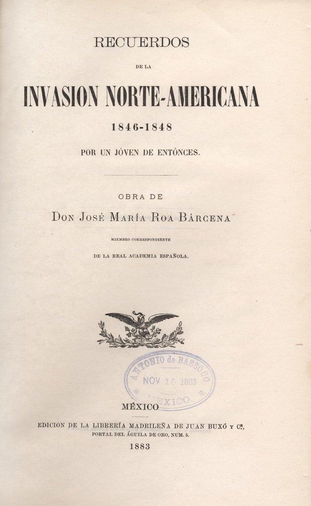 [HISTORIES]. ROA BÁRCENA. Recuerdos.... 1883