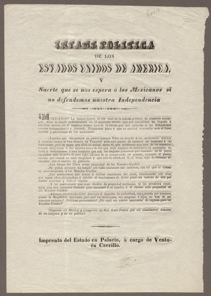 Infame politica.... [after November, 1846]