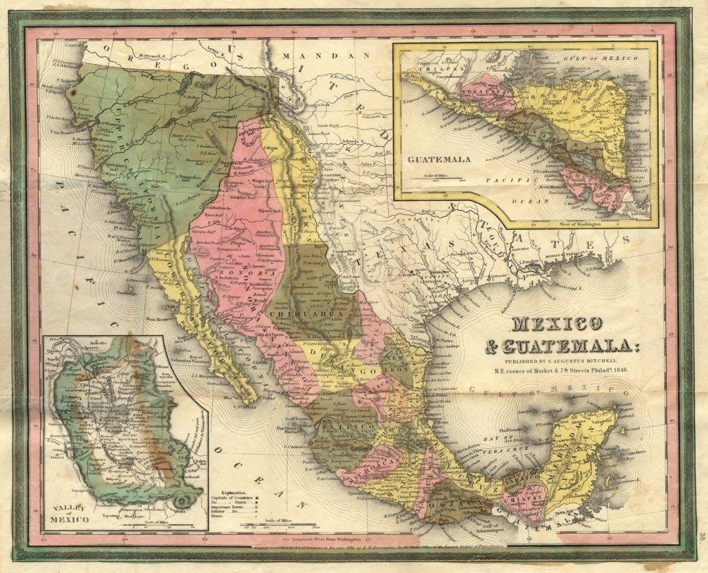 [MAP]. MITCHELL. Mexico & Guatemala. 1846