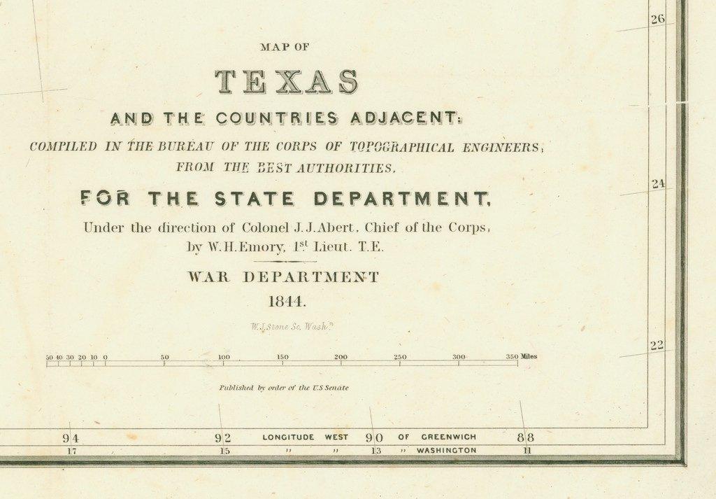 [MAP]. [TEXAS]. EMORY. Texas. 1844 - 5
