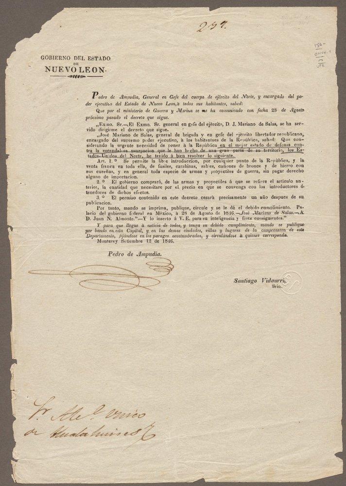 [MEXICAN ARMY]. SALAS. Gobierno.... [1846]