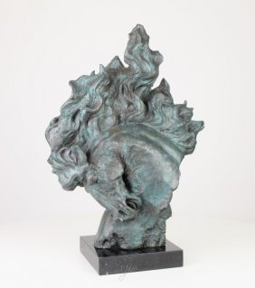 Large Bronze Horse Head On A Marble Pedestal