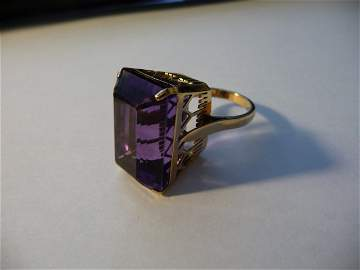Art Deco 14K Rose Gold 30ct Baguette Cut Amethyst Ring