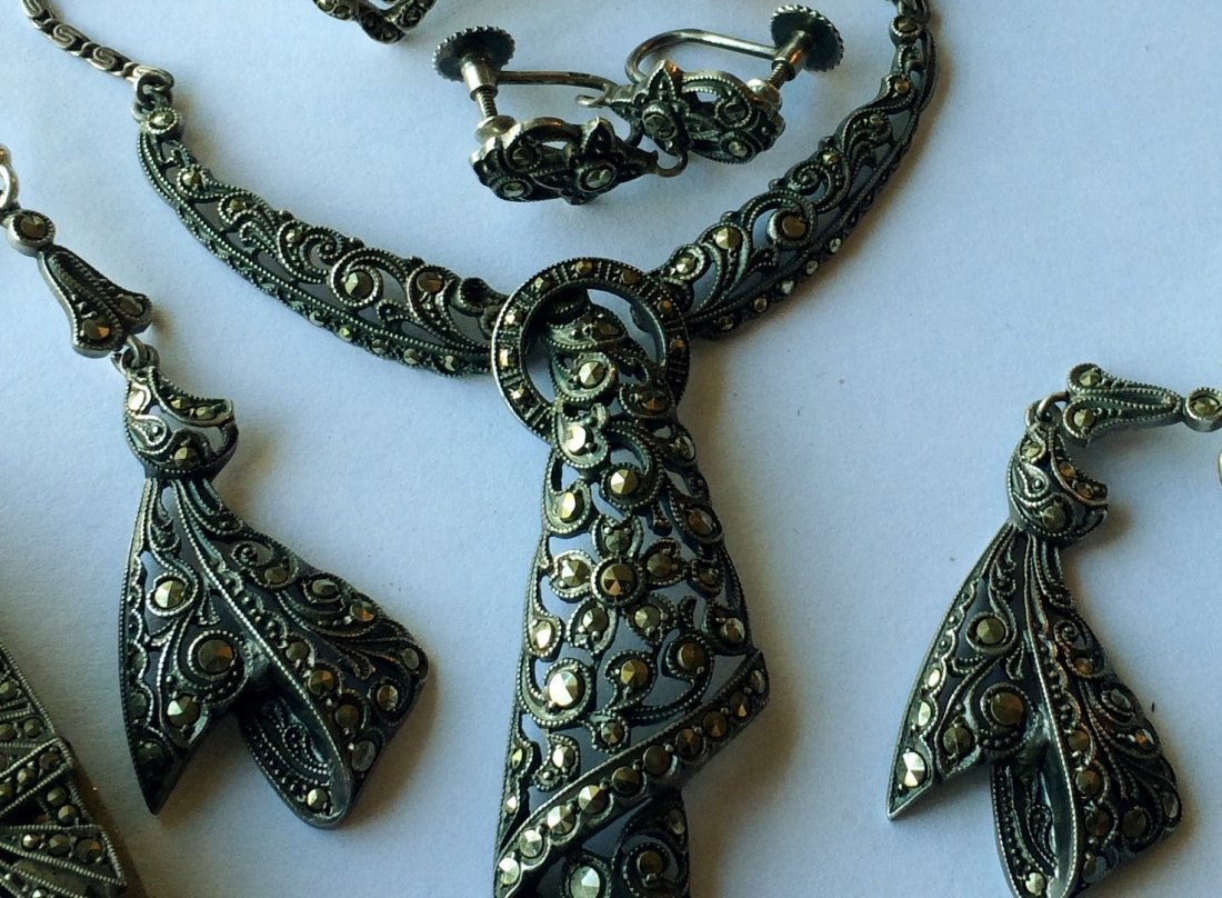 Lot of Art Deco Silver and Marcasite