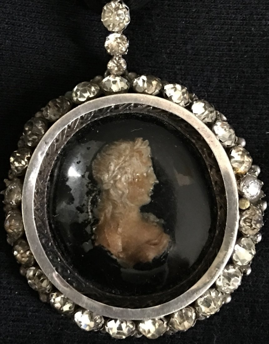 Sterling and Paste Mourning locket