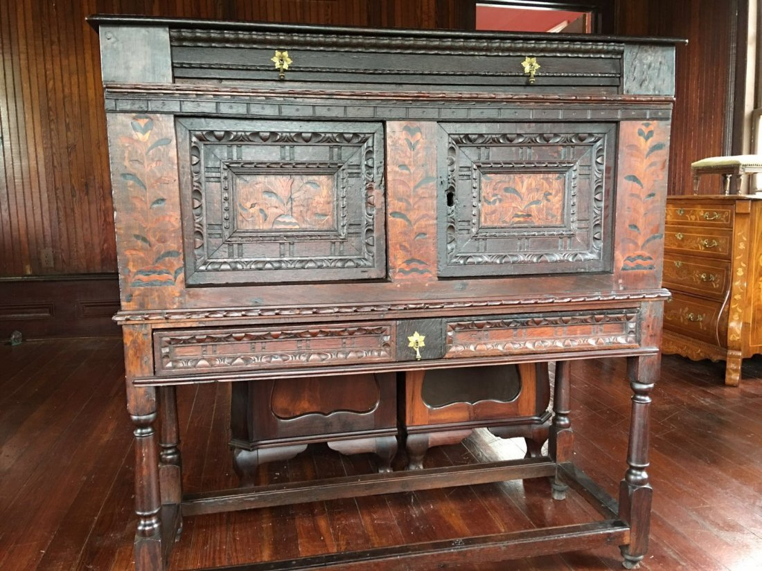 17th Century fumed tiger oak chest on stand