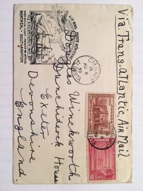 Airmail Cover - First Official Flight Montreal- South
