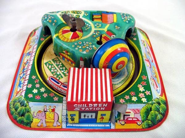 "8: TIN TOY ""CHILDREN STATION"", WIND-UP, JAPAN"