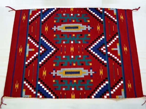 128: INDIAN NAVAJO RUG WEAVING, BLANKET PATTERN