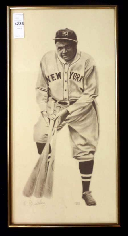7: BABE RUTH FRAMED AND SIGNED PRINT