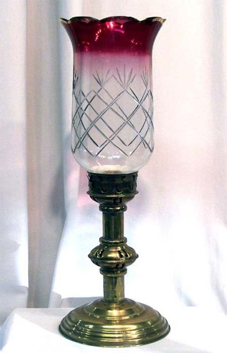 19: CRANBERRY FLASH GLASS CANDLESTICK