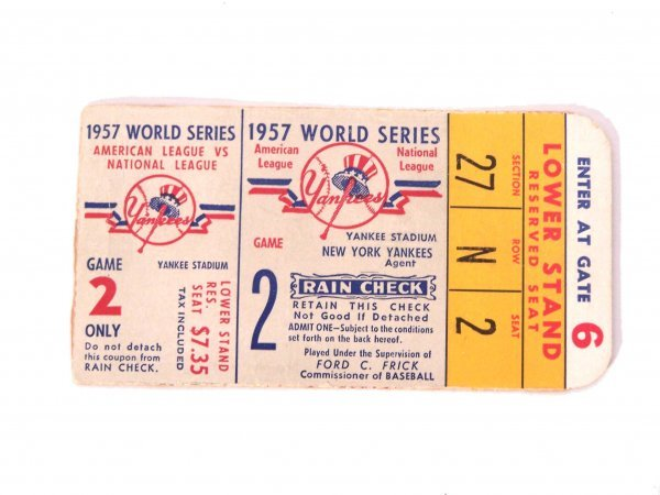 1014: 1957 WORLD SERIES YANKEES TICKET