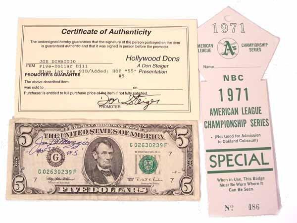 1015: FIVE DOLLAR BILL AUTOGRAPHED BY JOE DIMAGGIO