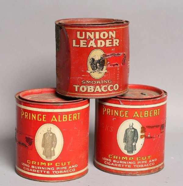 2: Lot of 3, tobacco cans