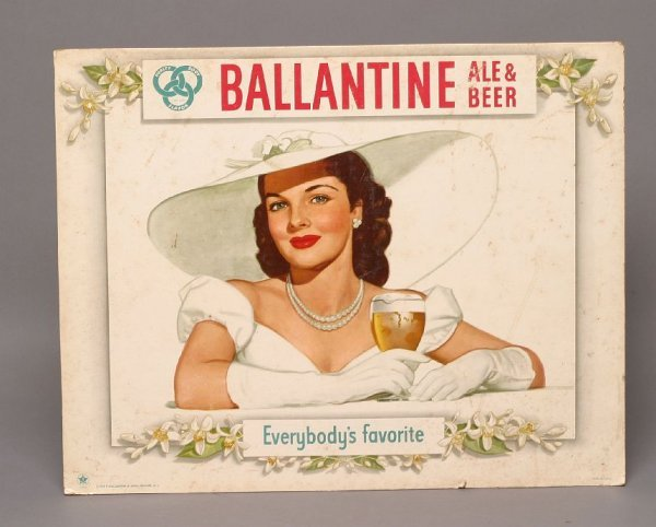 9: 1948 Ballantine Ale & Beer counter sign