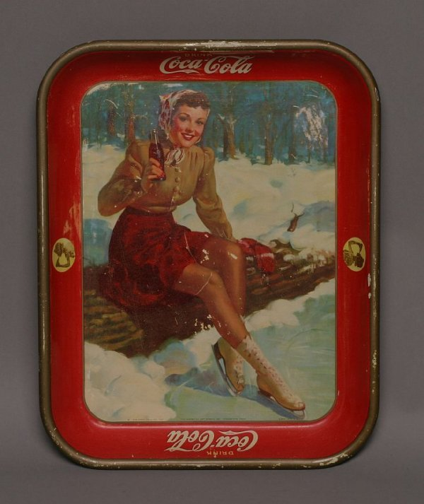 11: 1941 Coke skating girl tray