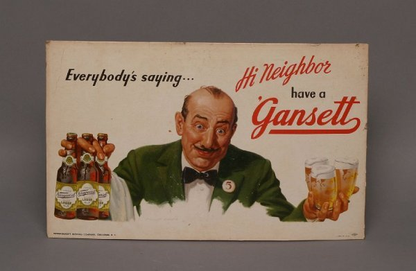 12: 1940s-50s Narragansett beer counter sign