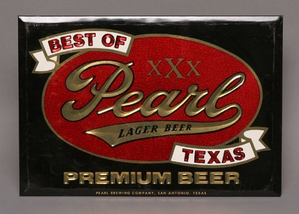 16: 1960s Pearl Lager Beer tin counter sign