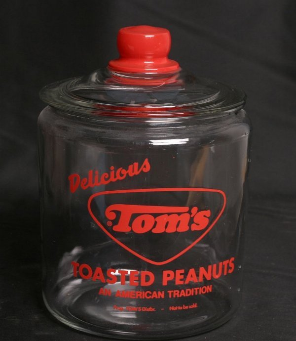 21: Tom's Roasted Peanuts round glass jar