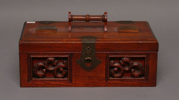 23: Carved wood box w/ hinged lid