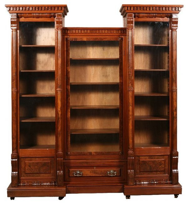 710: Burl walnut victorian 3-section bookcase