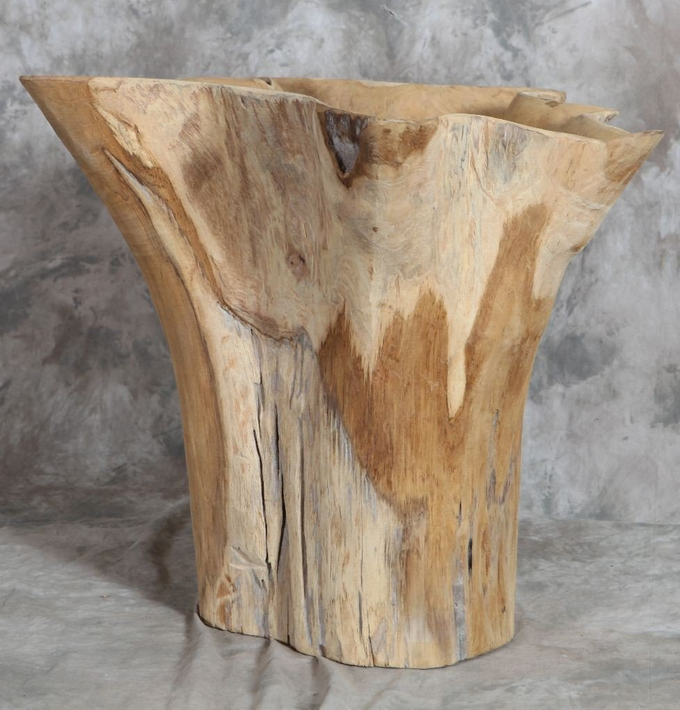 19: Large teak planter/ table base 20in tall