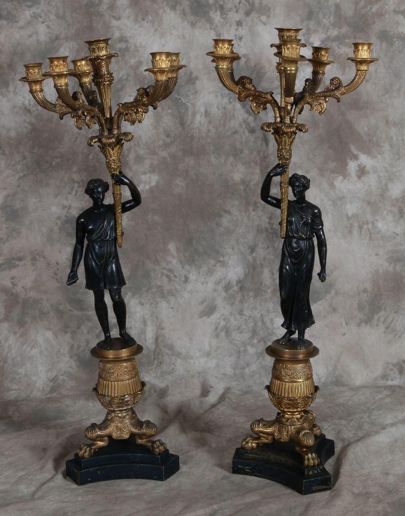268: Pair of bronze Empire figure candelabras