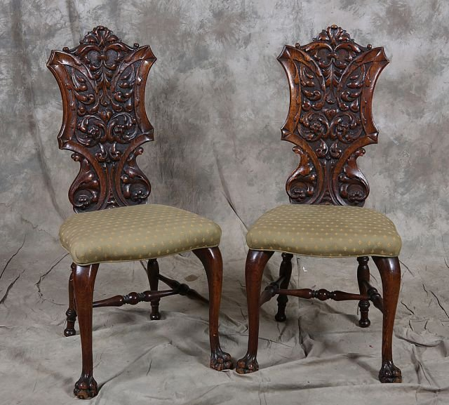 3: Pair of Carved Oak Side Chairs
