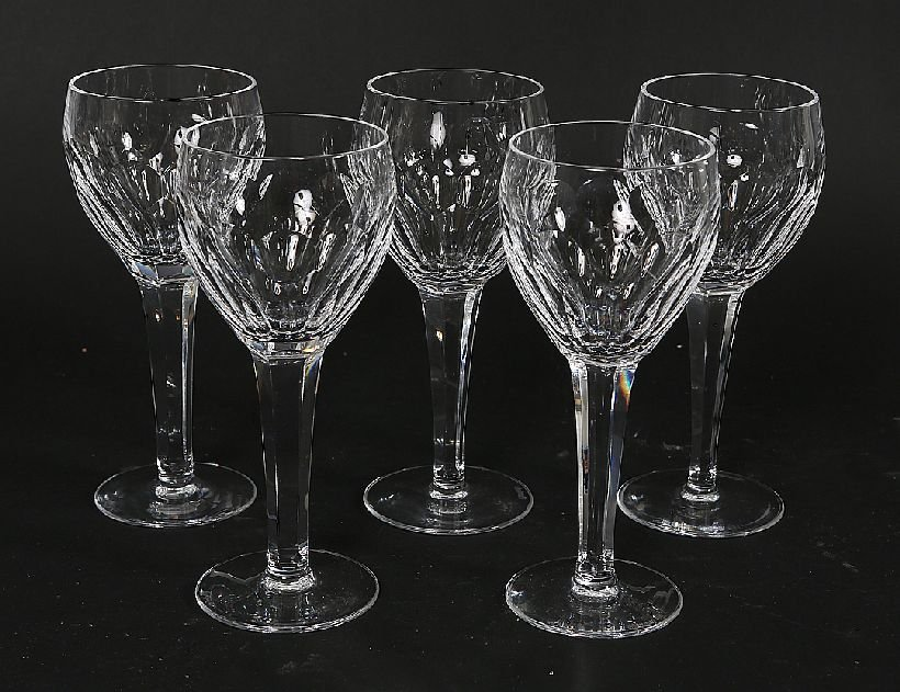 18: Set of 5 Waterford Wine Glasses